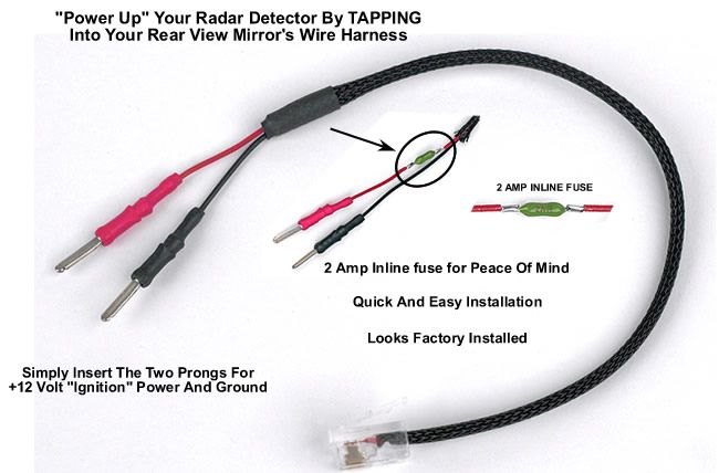 mirrortap radar detector power cord radarbusters com power up your radar detector by tapping into your rear view mirror s wiring harness