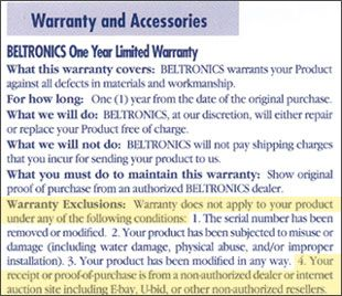 Beltronics Warranty